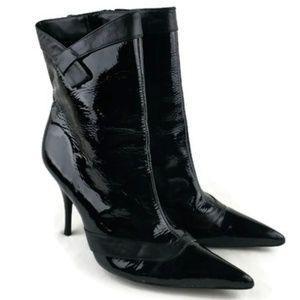 BCBG Paris Black Patent Leather Heel Boot Sz 8.5 B